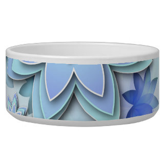 Pet Bowl abstract lotus flowers