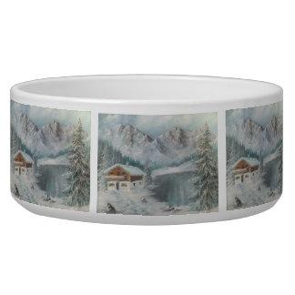 Pet Bowl Ann Hayes Painting Bavarian Snow Dream