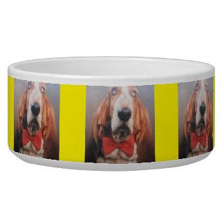 Pet Bowl Basset Hound Red Bow Tie
