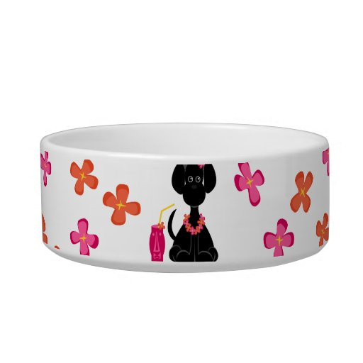 Pet Bowl: Black Lab & Flowers Pet Water Bowls