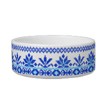 Pet Bowl Blue on Blue Cross Stitch Ukrainian