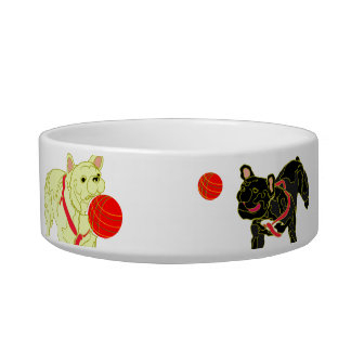 Pet bowl painted Frenchbulldogs in Japanese style.
