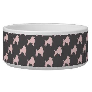 Pet bowl pink poodles on gray background