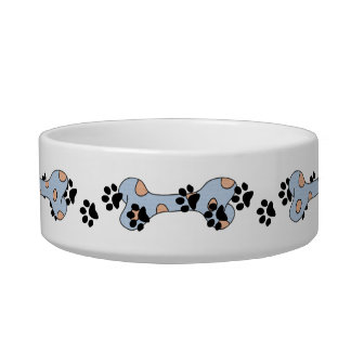 Pet bowl with bones and paw print design