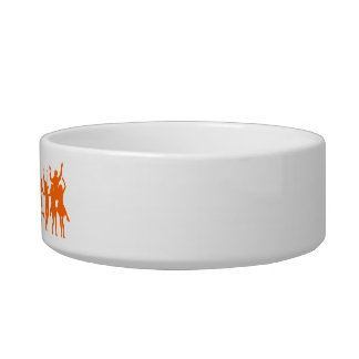 Pet bowl with orange dancing people