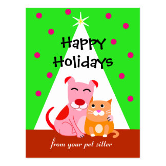 Pet Business Holiday Dog & Cat Postcard