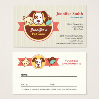 Pet Care Appointment Business Card