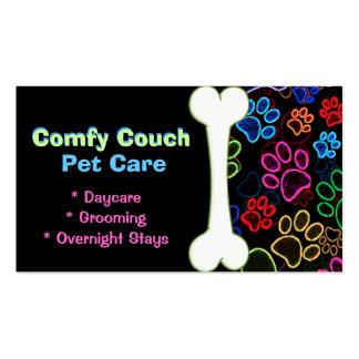 Pet Care Business Card Paw Prints Black