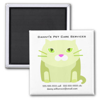 Pet Care Business Promotional Cat 2 Inch Square Magnet