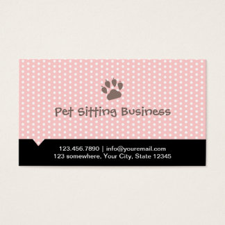Pet Care Cute Paw Pink Pet Sitter Business Card