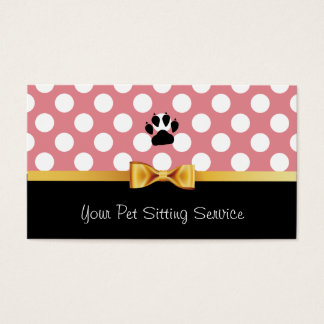 Pet Care Cute Pink Polka Dots Gold Ribbon Business Card
