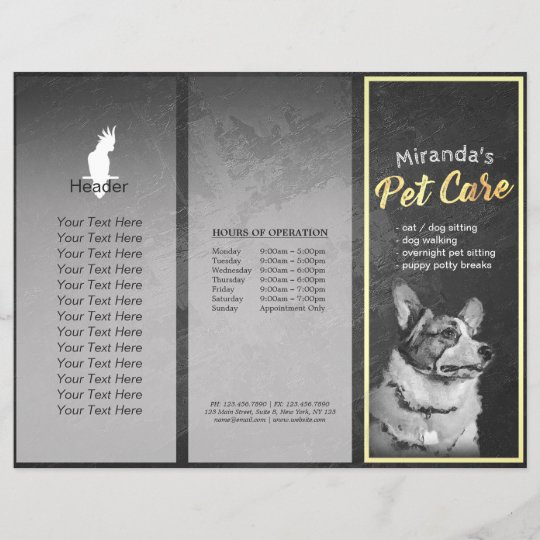 pet care grooming dog painting tri fold brochures zazzle com