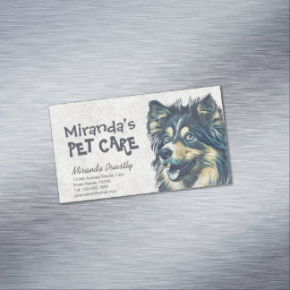 Pet Care Grooming Sitting Adorable Cartoon Dog Business Card Magnet