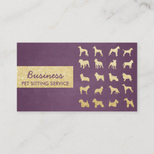 Pet care business cards 1700 pet care business card templates pet care modern purple gold dogs silhouettes business card colourmoves