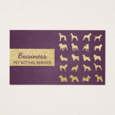 Pet Care Modern Purple & Gold Dogs Silhouettes Business Card at Zazzle