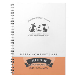 Pet Care Orange & White Retro Matching Notebook