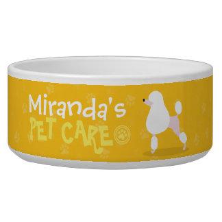 Pet Care Sitting Adorable Cartoon Dog Illustration Bowl