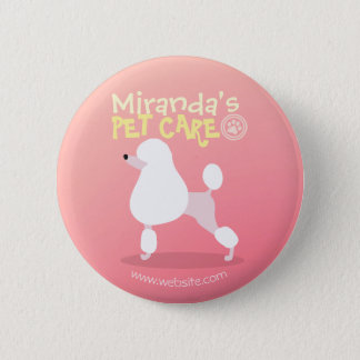 Pet Care Sitting Adorable Cartoon Dog Illustration Button