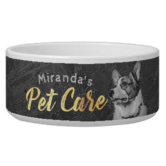 Pet Care Sitting Black and White Dog Oil Painting Bowl