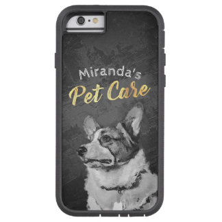 Pet Care Sitting Black and White Dog Oil Painting Tough Xtreme iPhone 6 Case