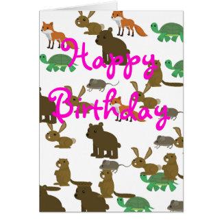 Pet cartoon animals birthday card