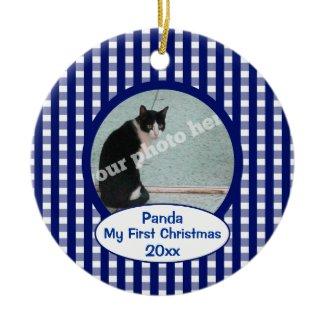 Pet Cat First Christmas Blue Checks Photo Ornament ornament