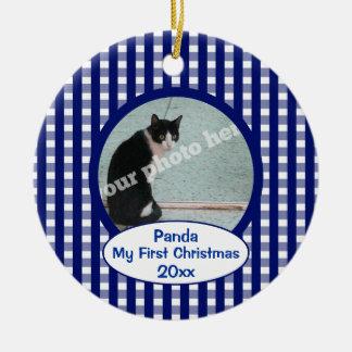 Pet Cat First Christmas Blue Checks Photo Ornament