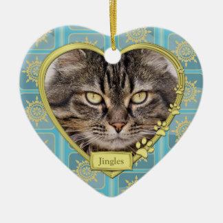 Pet Cat Memorial Blue Gold Heart Photo Christmas Ceramic Ornament