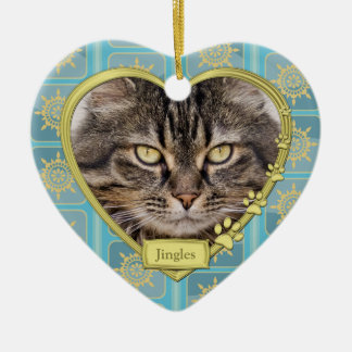 Pet Cat Memorial Blue Gold Heart Photo Christmas Double-Sided Heart Ceramic Christmas Ornament