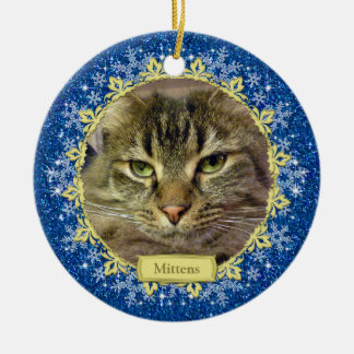 Pet Cat Memorial Blue Snowflake Photo Christmas Double-Sided Ceramic Round Christmas Ornament
