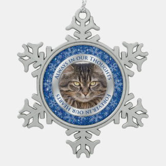 Pet Cat Memorial Photo Christmas Blue Silver Snowflake Pewter Christmas Ornament