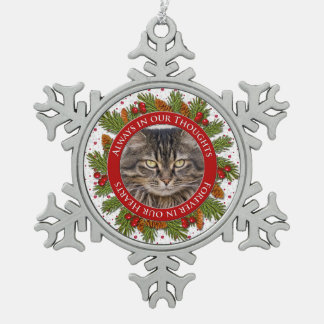 Pet Cat Memorial Photo Christmas Pine Boughs Holly Snowflake Pewter Christmas Ornament