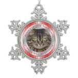 Pet Cat Memorial Photo Christmas Red Silver White Snowflake Pewter Christmas Ornament