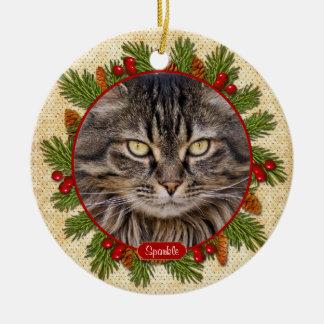Pet Cat Memorial Pine Boughs Holly Photo Christmas Ceramic Ornament