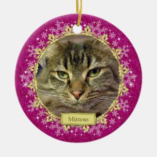 Pet Cat Memorial Pink Snowflake Photo Christmas Ceramic Ornament