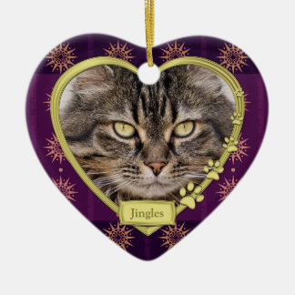 Pet Cat Memorial Purple Gold Heart Photo Christmas Ceramic Ornament