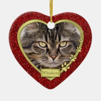 Pet Cat Memorial Red Gold Heart Photo Christmas Ceramic Ornament