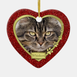 Pet Cat Memorial Red Gold Heart Photo Christmas Double-Sided Heart Ceramic Christmas Ornament