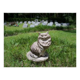 Pet cemetery Cat Statue Tombstone poster photo