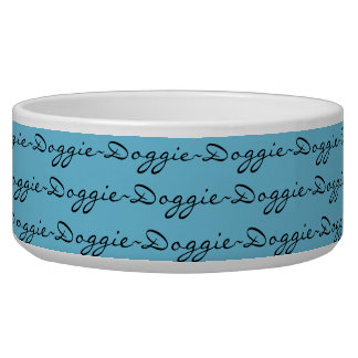 "PET CHIC_ BOWL, ""Doggie"" ON 143 BLUE Bowl"