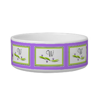 PET CHIC_ BOWL, LILY HILL 191 PURPLE WITH MONOGRAM BOWL