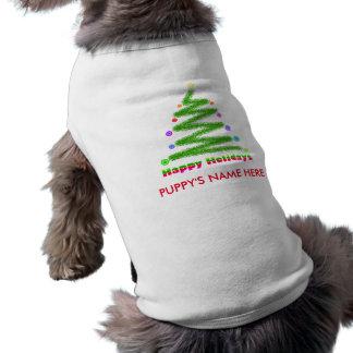 PET CLOTHING - HAPPY HOLIDAYS CHRISTMAS TREE ART