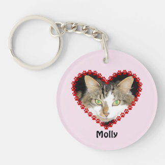 Pet custom name paw prints pink keychain