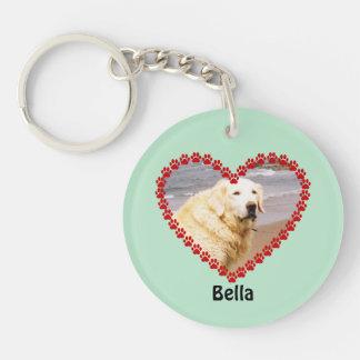 Pet custom name your photo paw prints aqua keychain