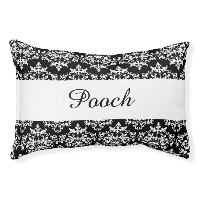 Pet damask black white name PERSONALIZE Pet Bed