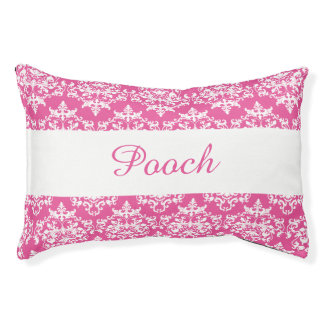 Pet damask pink white name PERSONALIZE Dog Bed