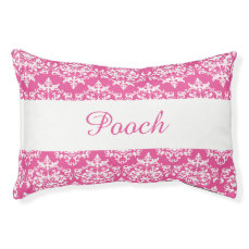 Pet damask pink white name PERSONALIZE Pet Bed