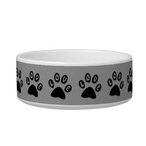 Pet Dish with paw prints, 'love' Cat Bowl