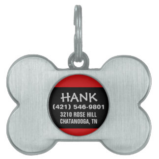 Pet Dog ID - Black & Red - For Small Dogs Pet ID Tag