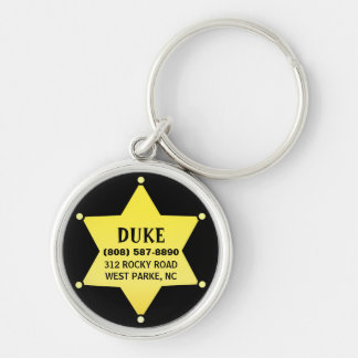 Pet Dog ID Tag - Gold Sheriff Star Design Key Chains